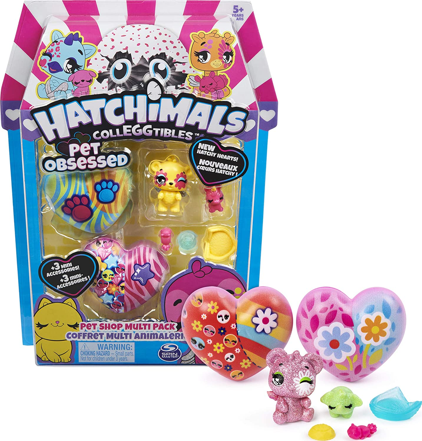 Hatchimals CollEGGtibles, Pet Obsesessed Pet Shop Multi-Pack con 3 CollEGGtibles, 3 Mascotas y Accesorios (los Estilos Pueden Variar)